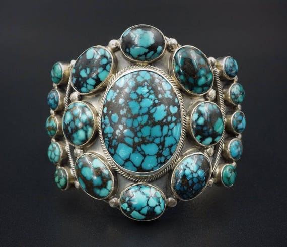 "Navajo Roie Jaque Sterling Silver Spiderweb Turquoise Cuff Bracelet 6.5"" BS1244"
