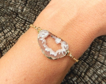 Geode Slice Bracelet 14K Gold Filled Chain Freeform Druzy Crystal Quartz Rock Agate Boho Cream White - Free Shipping OOAK Jewelry