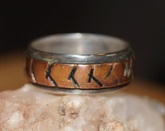 vintage ring, copper ring, sterling ring, tribal ring, indian ring, size 6.5 ring, modernist ring, sterling band