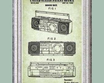 Boom Box Patent Print, Audio Poster, Cassette Player Art, CD Player, Boombox Art, Radio Decor, 80s Art, Stereo Wall Art, Street Dance P387