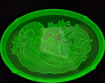 NEW LISTING Striking Art Deco Uranium Glass Walther Nymphen Dressing Table Set Tray