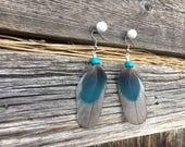 Girlfriend Blue Earrings   Music Festival, Wife Blue Earrings, Blue Feathers, Daughter Blue Earrings, Girlfriend Gift, Nature Jewelry