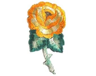 Antique Silk Flower Applique, 1930s Vintage floral patch Sewing supply. #6ADG9AK4