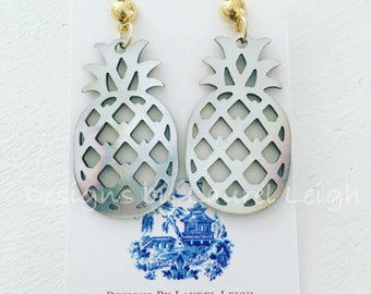 Pineapple Earrings | mother of pearl, pearl, shell, Designs by Laurel Leigh, TWO Colors, white, gray, lightweight, post, posts