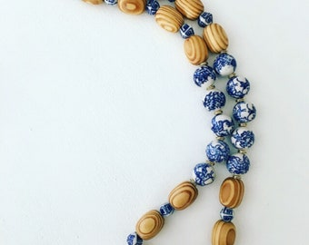 Chunky Chinoiserie Beaded Necklace | blue and white, natural, neutral, dragon, gold, long, statement necklace, Designs by Laurel Leigh