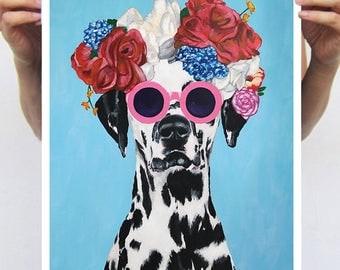 Original Dalmatian print, frida kahlo print,  from original painting by Coco de Paris: Dalmatian with flowers