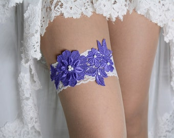 Purple and White Lace Applique Wedding Garter Set For Bride, Garter Purple, Garter Set Lace, Wedding Garter, Lace Garter Purple, Garters Set