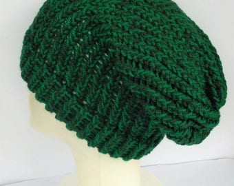 Green knit slouch hat, hat for dreads, knit dreadlock tam, green slouch hat, vegan slouch hat, slouchy hat woman, hat for dreads, bohemian