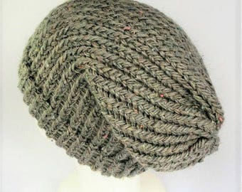 Beige summer beanie, slouchy wool hat,recycled yarn hat, knitted beany, beige beanie, dreadlock hat, slouchy hats, woolly hat, wool hat, eco
