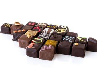 Fine chocolate box, 6 per box, fine chocolate bites, fine chocolate, dark chocolate, milk chocolate, fine dark chocolate, valentine's day