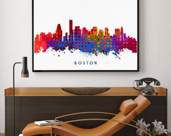 Boston Skyline, Boston Print, Watercolor Print Wall Art Decor, Boston Home Decor Gift, Living Room Wall Art, Modern Abstract (N140)