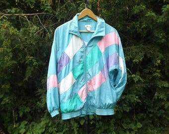 90s Windbreaker Pastel Goth, 80s Windbreaker Womens, Colorblock Pastel Windbreaker, Floral 90s, Oversize Windbreaker, Womens Jacket, Size M