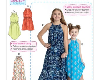 Sewing Pattern  Children's/Girls' Gathered Neckline Sleeveless Dresses, McCall's Pattern 7589, New Summer 2017, Learn to Sew Pattern, EASY