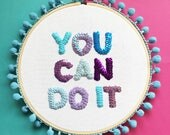 BRANDY MARTIN - Embroidery Hoop Wall Art, Motivational Quote, Positivity, You Can Do It, Go For It, Remember Why You Started