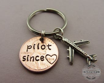 Pilot Since Penny Keychain, Pilot keychain, Plane Keychain, Airplane Keychain, Penny Keychain, Pilot,Gift for Pilot,Custom Gift,Personalized