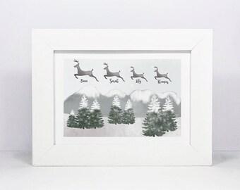 Framed Personalised Family Christmas Print | Family Name Sign | Family Wall Art | Family Gift | Reindeer Snow Scene