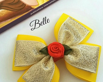 Belle Hair Bow, Beauty and the Beast,Princess, Baby Headband,Red, Yellow, Disney,Party,Uk