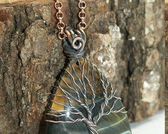 Tree of life necklace Tiger eye