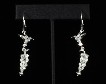Banana Bunch with Humming Bird Hanging Earrings in .925 Sterling Silver