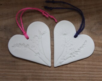Wild Flower Pressed White Porcelain Heart Wedding Favours Gift Tag Unique & Handmade