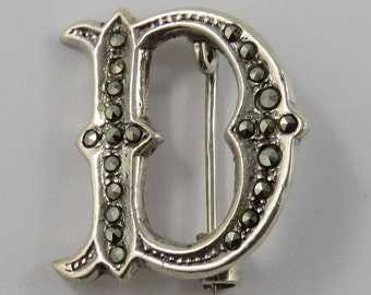"Sterling Silver Marcasite Letter ""D"" pin"