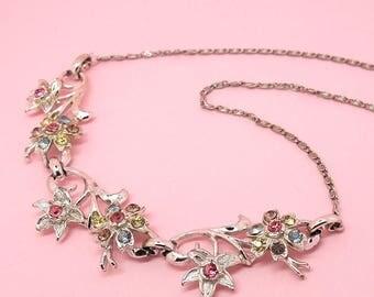 Vintage 1950s Coro Necklace | 1950s Necklace | Flower Necklace | Rhinestone Necklace | Statement Necklace | Short Necklace
