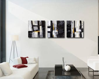 ABSTRACT PAINTING -  Modern Home Wall Decor Painting Canvas Art (together 150x50 cm )(60x20inch) black  white