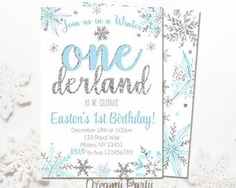 Winter Onederland Invitation, blue and silver first birthday invitation baby boy winter invitation, winter birthday, digital file. W205