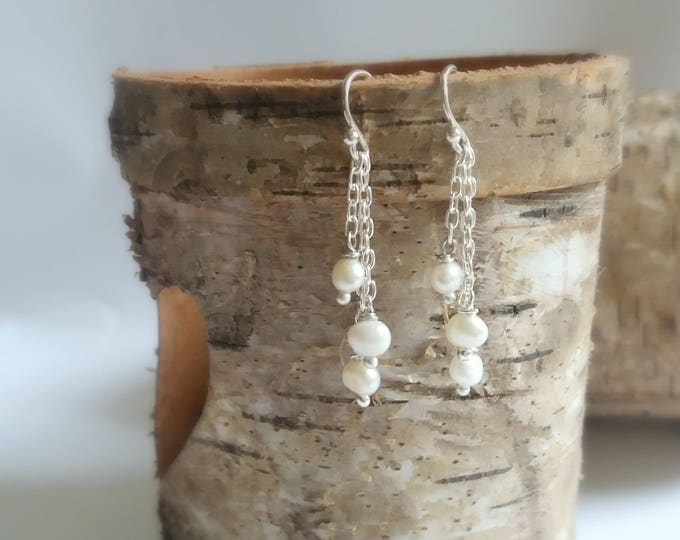 Sterling Silver dangle earrings, freshwater pearl drop earrings, bridal jewelry, pearl jewelry, jewellery gift, gift for her, weddings