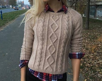 Knit sweater Hand knit sweater Cable knit sweater Beige sweater