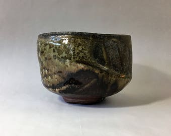 Wood fired matcha chawan, Japanese teabowl, woodfired with natural ash glaze. Tea ceremony, Japan.