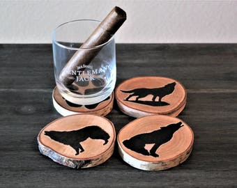Wolf Pack Silhouette Birch-wood Coaster Set of 4
