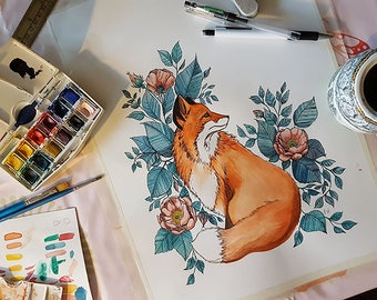 Original Watercolor Fox and Rosehip Flowers