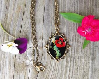 Poppy Necklace, Floral Glass Dome Pendant Necklace