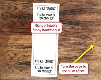 Eight funny printable bookmarks for avid readers and book lovers to DIY print with humor at home