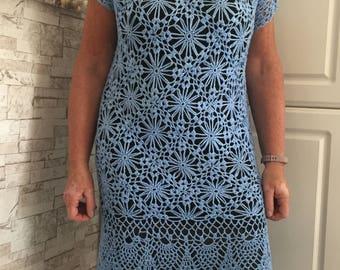 blue dress crocheted handmade
