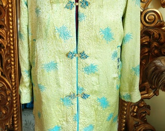 Vintage 50's Reversable Green and Blue Asian Robe