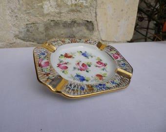 Limoges porcelain ashtray - French vintage ashtray - Flower ashtray - Ashtray made in France - gift idea
