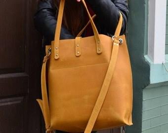 Leather cross body bag, Leather handbag, Leather bag, Cross body Tote, Yellow leather bag, Ginger leather bag, Handmade purse, Shoulder bag