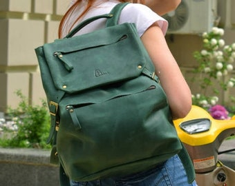 Green Leather backpack, leather backpack women, leather backpack men, mens leather backpack, leather rucksack, vintage leather backpack