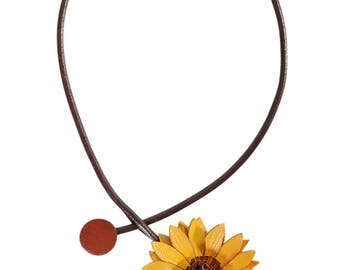 Flower necklace sunflower and cowhide leather cord