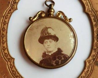 Antique Double Sided Photo Pendant Victorian Woman Reverse Side Civil War Era Man Soldier