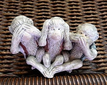 Three Wise Monkeys ... See No Evil , Hear No Evil , Speak No Evil ...  Monkey Souvenir