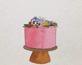 Mini Cake: Pansies