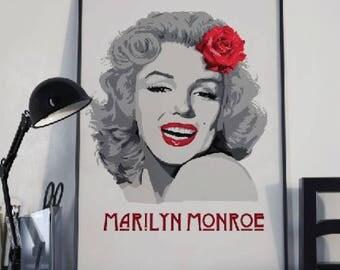 Marilyn Monroe art print, Marilyn Monroe poster, Monroe illustration, Famous portrait art, Monroe art, Pop Art, instant download art
