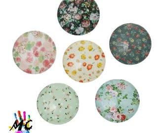 Set of 6 cabochons round glass, flower theme