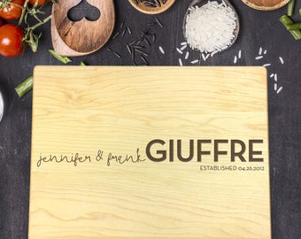 New Home Gift, Personalized Cutting Board, Gift for Couple, Gift for Her, Gift for Him, Wedding Gift, Last Name Gift, B-0028 Rec