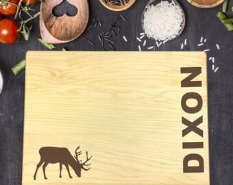 Personalized Cutting Board, Engraved Cutting Board, Custom Cutting Board, Wedding Gift, Housewarming Gift, Anniversary Gift, Elk, B-0085