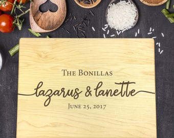 Custom Cutting Board, Custom Cutting Board Wedding, Custom Cutting Board Wood, Wedding Gift, Housewarming Gift, First and Last Name, B-0121