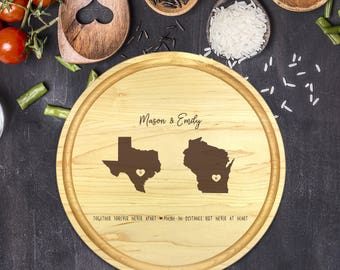 Custom Round Cutting Board, State Round Cutting Board, Wedding Gift, Gift for Couple, Bridal Shower Gift, Gift for Her, Name, B-0078